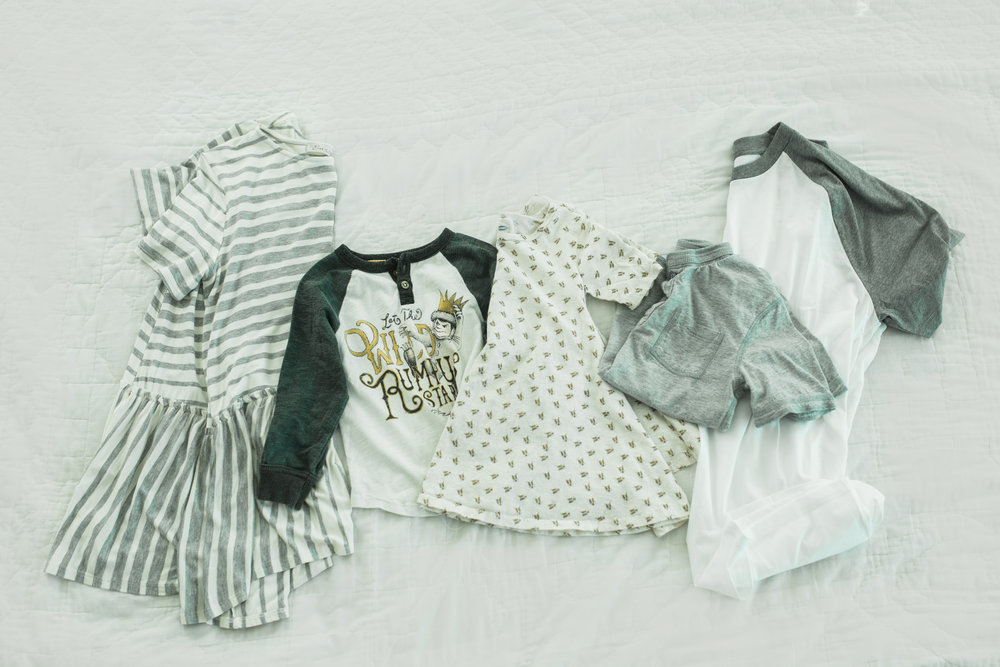 This may be my favorite look. Striped tee again, with same olive cargos I am trying to find! FUN graphic baseball tee for boy, paired denim. Bee dress for girl, grey henley with maroon denim for boy, grey baseball tee for dad with jeans.