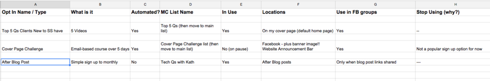 Squarespace Newsletter Opt In Spreadsheet