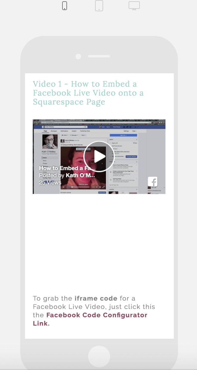 Embed Facebook Video in Squarespace Height Issue