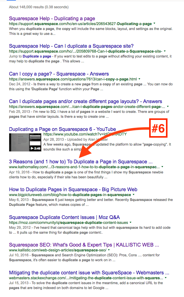 Google Search Result Page for one of my Squarespace Blog Posts.