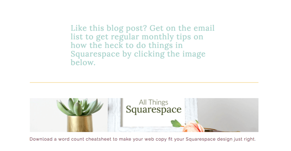 What my previous newsletter opt in looked like on my blog posts using the content link block. I had a  good reason to set it up this way  at the time. But I'm done with that now.