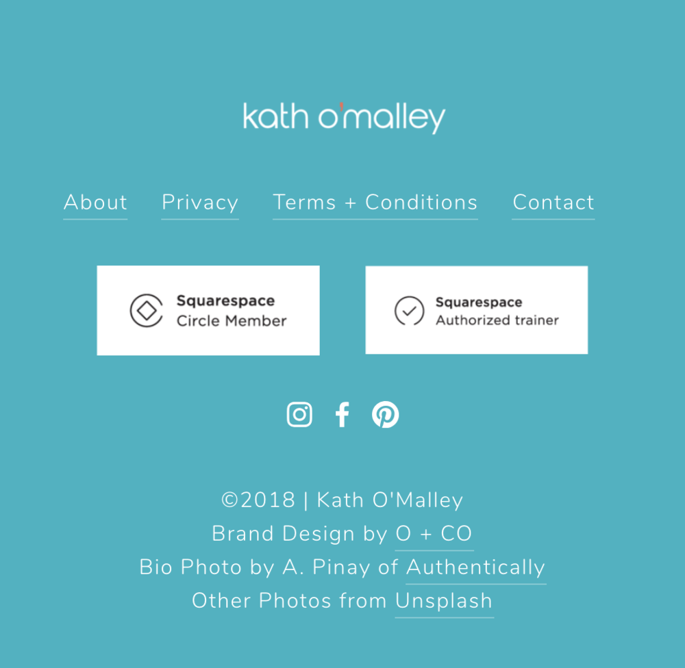 A screenshot image of Kath O'Malley's Squarespace Footer Design