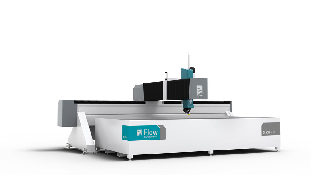 Versatility with a Flow Waterjet - Our custom designs are cut using Flow's Mach 200. This revolutionary machine is capable of cutting a wide range of materials including stones, metals, ceramics, composites, woods, and glass.  The Mach 200 is paired with the Pivot+™ Waterjet cutting head to further enhance our craft in making the most accurate and precise cuts every time, even at an angle!