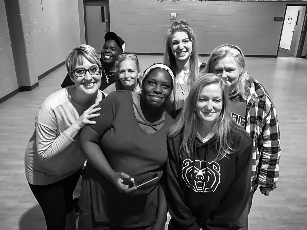 Melody with Safe to Sleep guests (Left to right, front to back: Georgeanna, Shontell, Laura, Tammy, Shantell) and Larissa (7 Billion Ones Movement Coordinator - Back roll center)