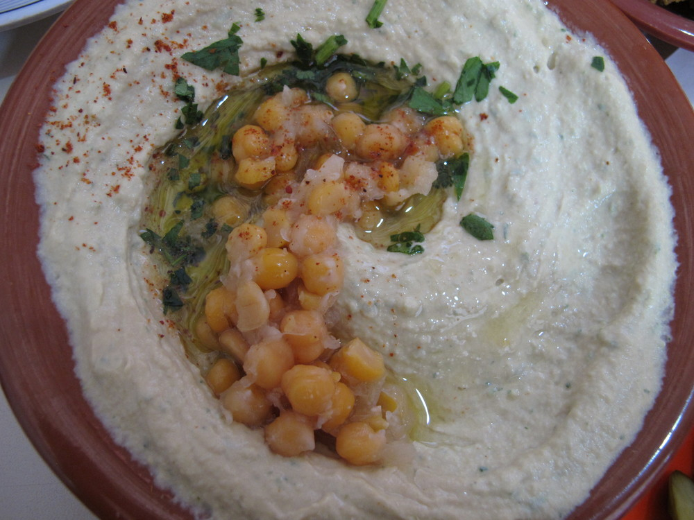 A Classic Presentation of Hummus with Chickpeas at a Famous Jerusalem Hummusiya