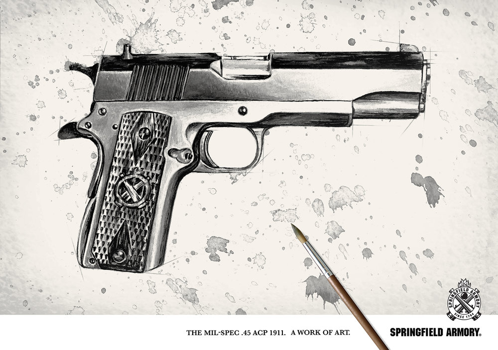 springfield 1911 ink wash painting and poster design by jordan fretz