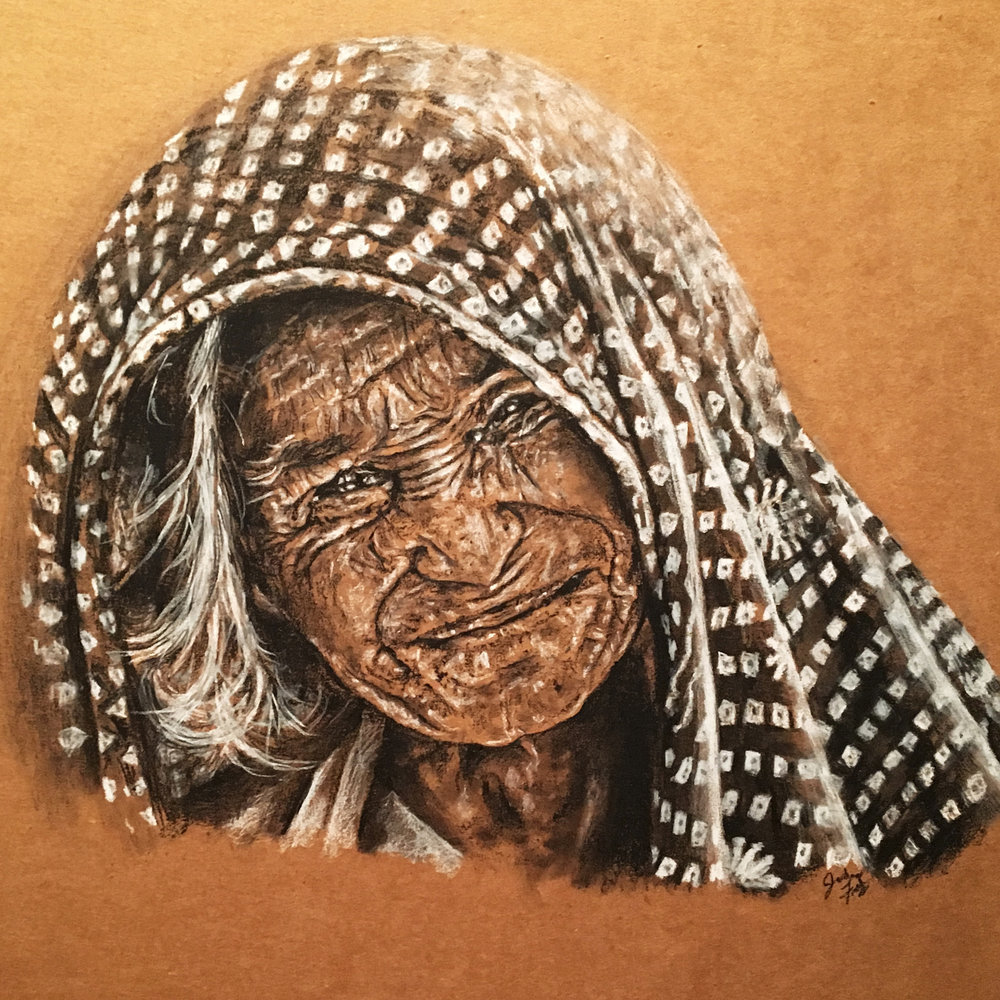 Cardboard Art, Charcoal Portrait Drawing
