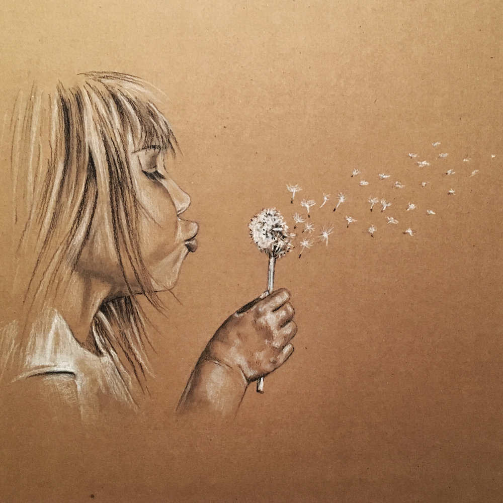 Cardboard Art, Charcoal Drawing