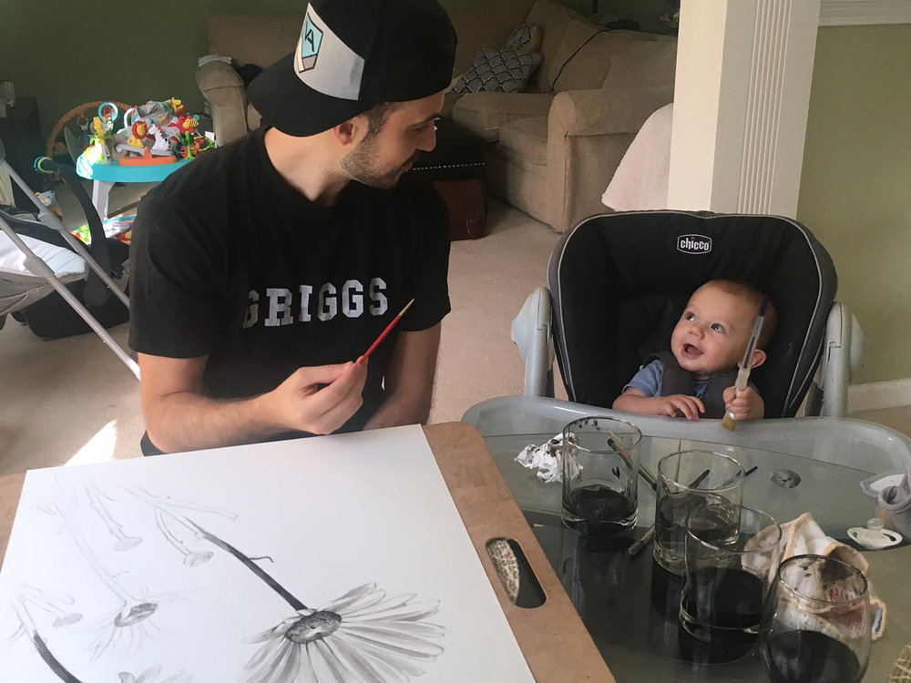 Sawyer's painting lessons started pretty early