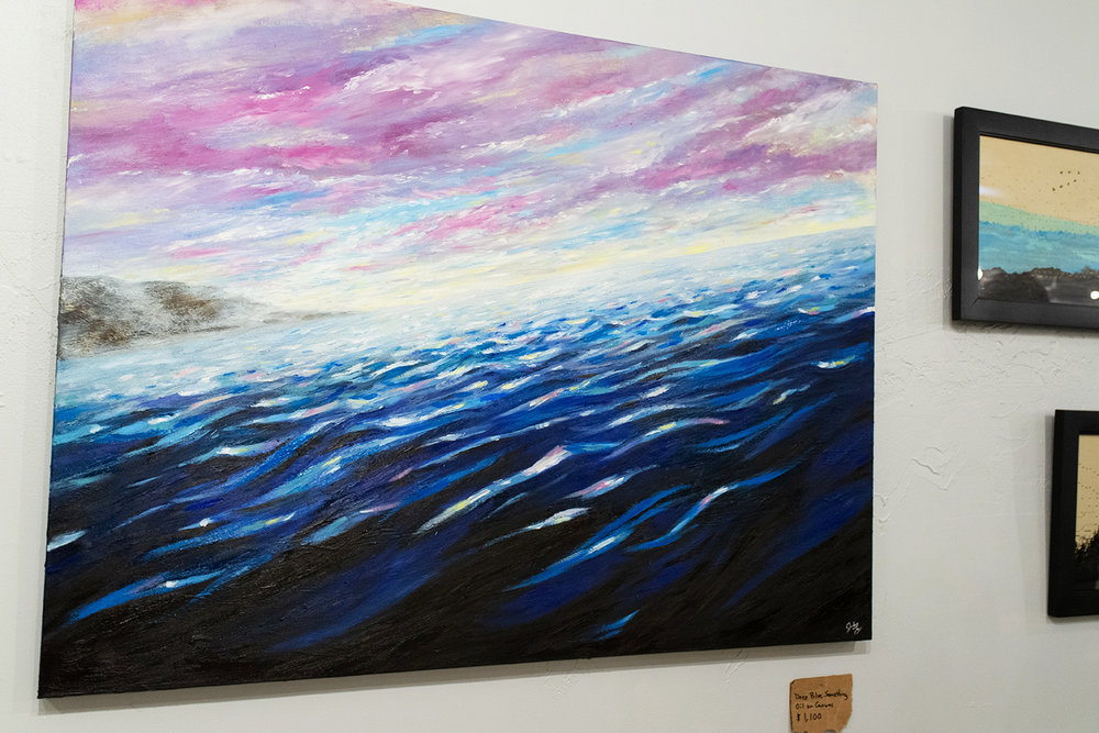 This painting started off with an orange sky and a swordfish. I didn't like it and ended up painting over it all. I like to tell people there is a fish under the water. It's true a fish really is under there, a stupid swordfish!