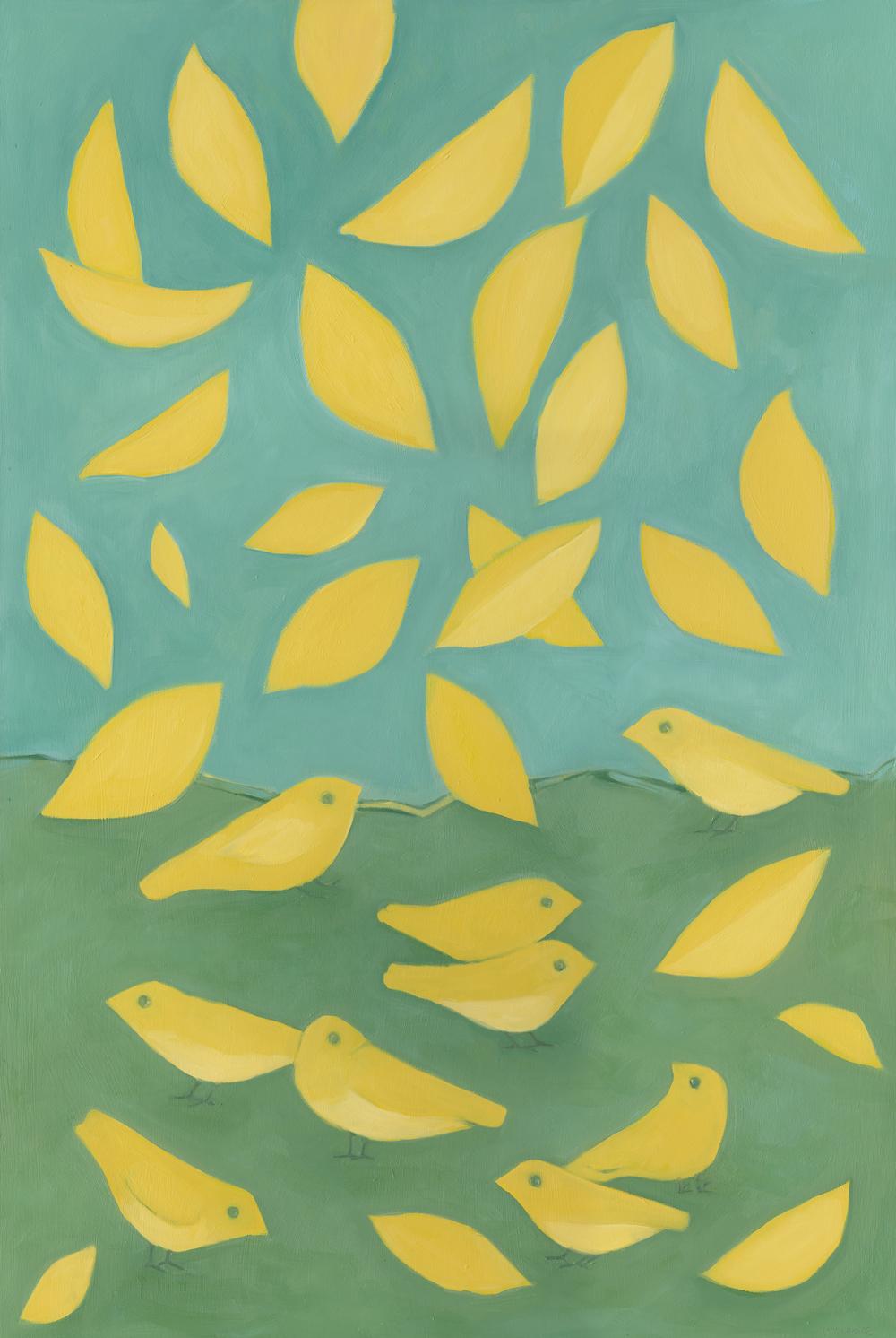 Yellow Birds & Leaves