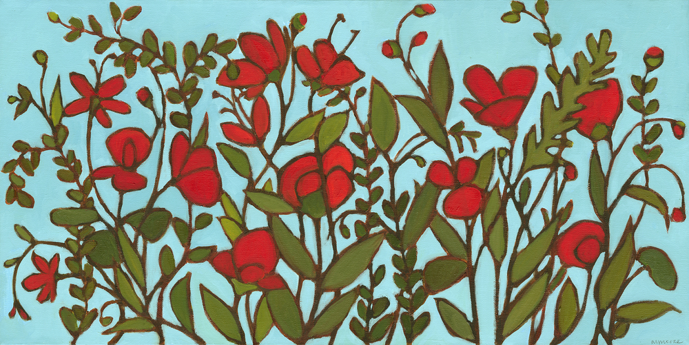 Tangle of Bright Red Blossoms