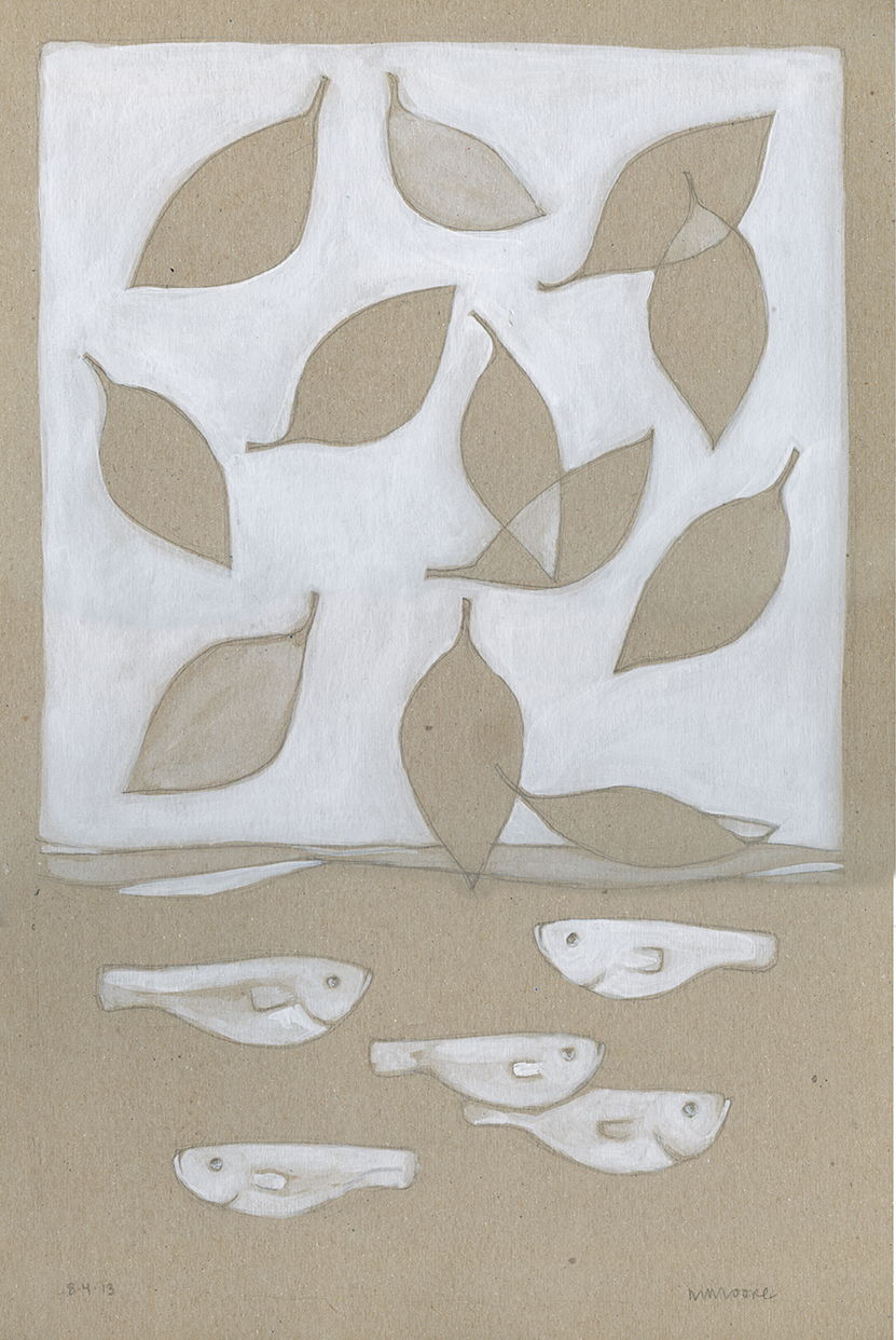 Brown & White Leaves & Fish