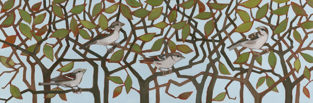 Sparrows in a Thicket
