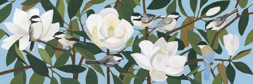 Chickadees and Azure-Winged Magpie on Southern Magnolia