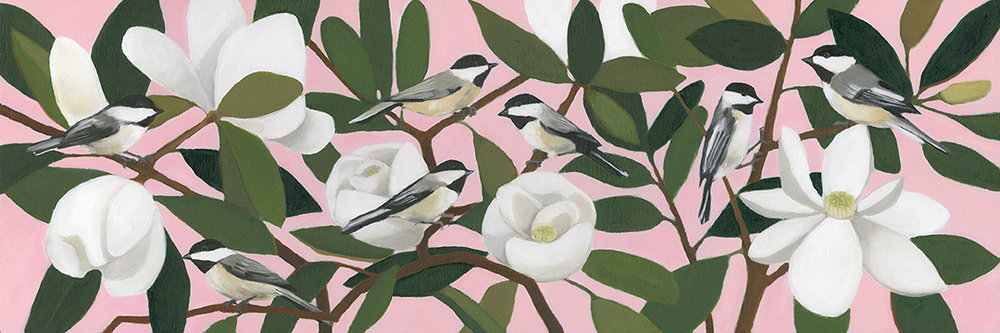 Chickadees on Southern Magnolia