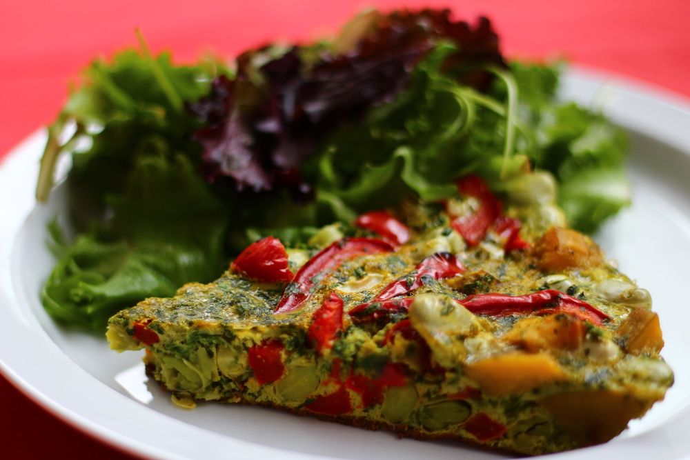 Broad Bean, Red Pepper and Sweet Potato Frittata