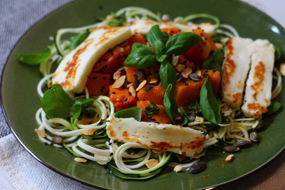 Courgette Spaghetti with roasted Butternut Squash and Halloumi