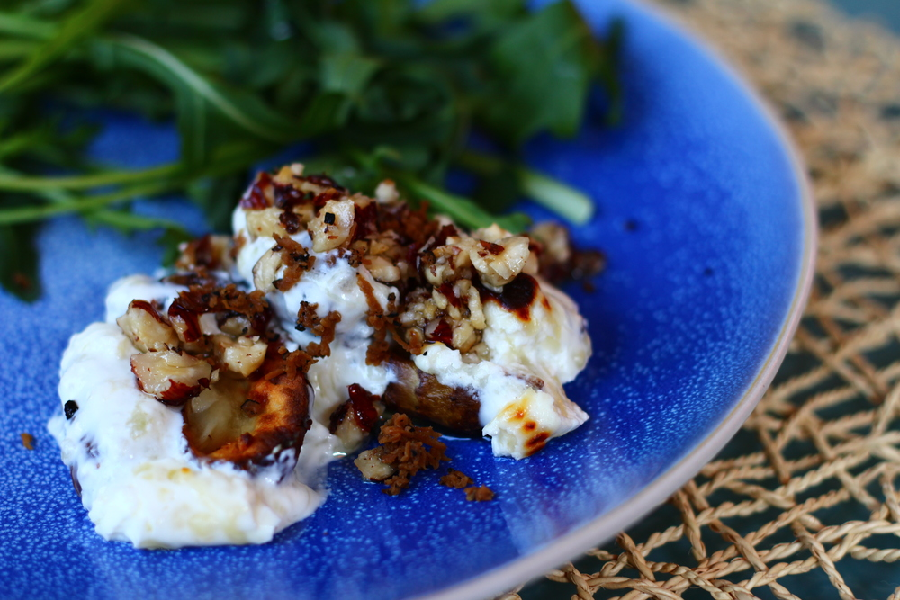 Roasted Jerusalem Artichokes with Hazelnuts and Truffle Oil