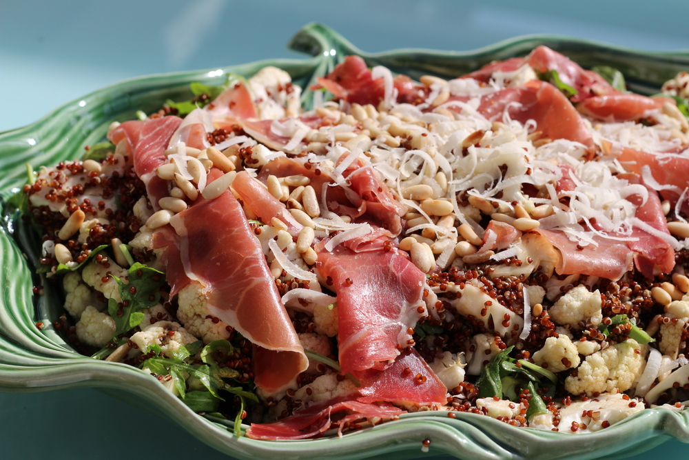 Red Quinoa with Cauliflower and Prosciutto