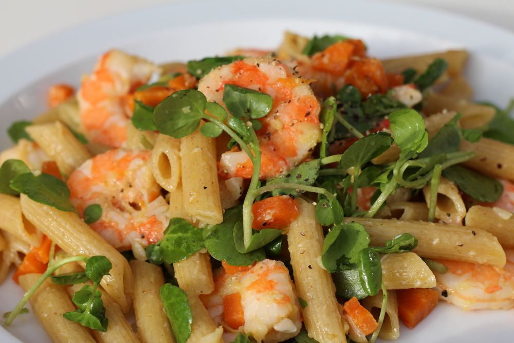 Wholewheat Penne with Prawns, Ginger and Watercress