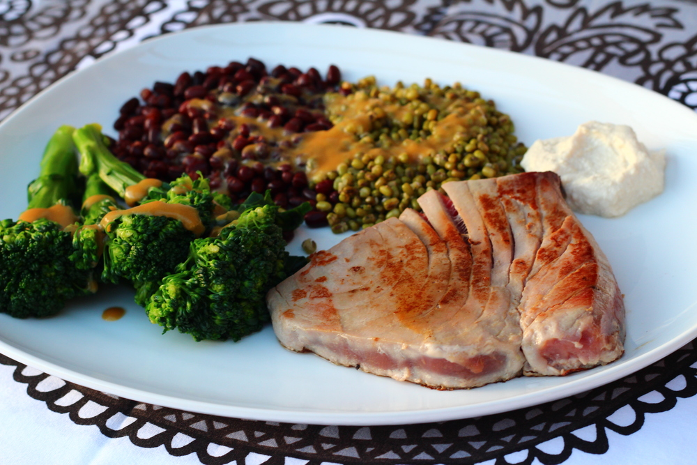 Tuna Steak with Adzuki and Mung Bean Salad