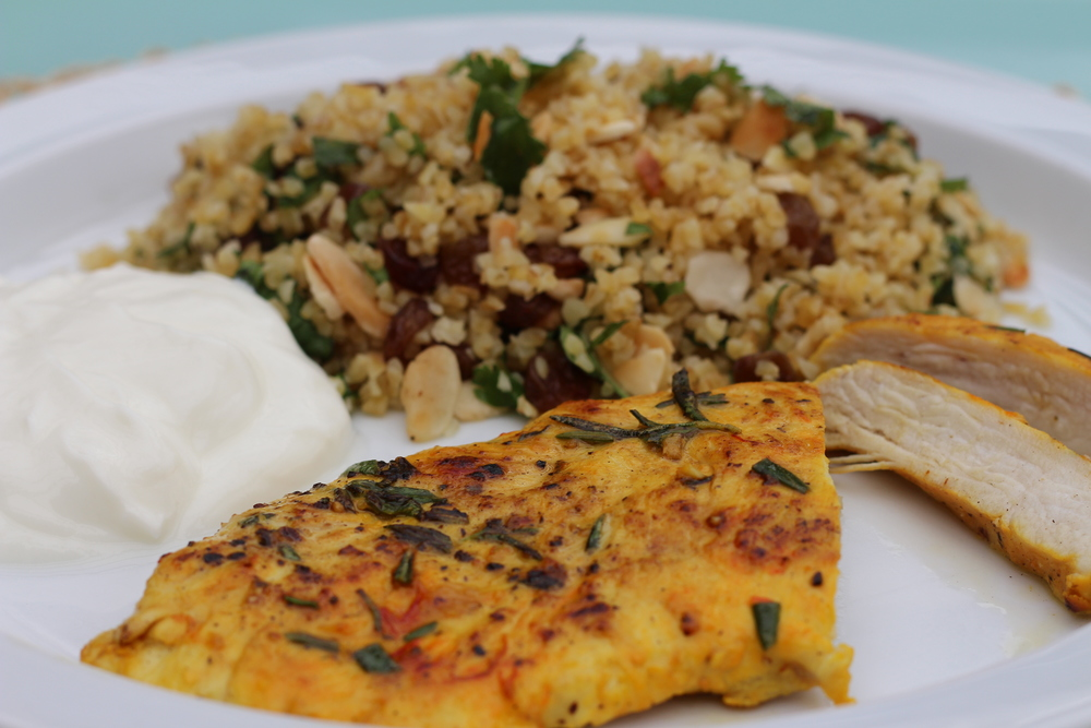 Saffron Chicken Breasts with Bulgur