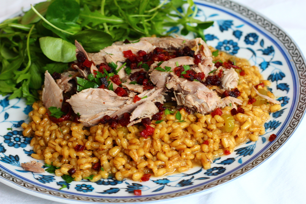 Roasted Duck with Chorizo Crumble