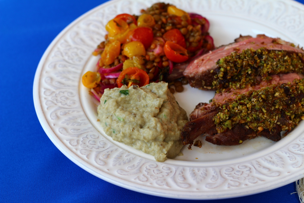 Lamb with Pistachio and Spice Crust, Lentil and Oven Dried Tomatoes and Baba Ganoush