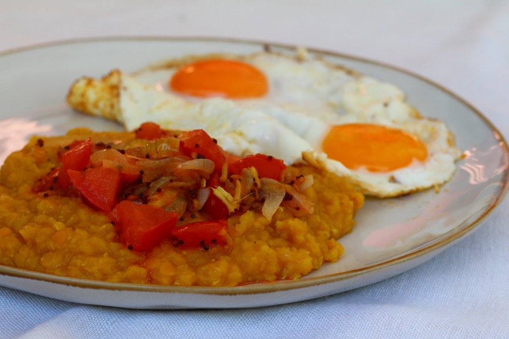 Dhal with Fried Eggs