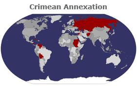 Crimean annexation brought to you by: Afghanistan, Armenia, Belarus, Bolivia, Cuba, Kazakhstan, Kyrgyzstan, Nicaragua, North Korea, Russia, (old-map) Sudan, Syria, andVenezuela. Fun crowd.