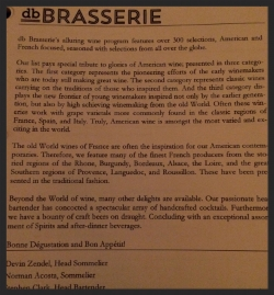 The first page of the wine list at db Brasserie