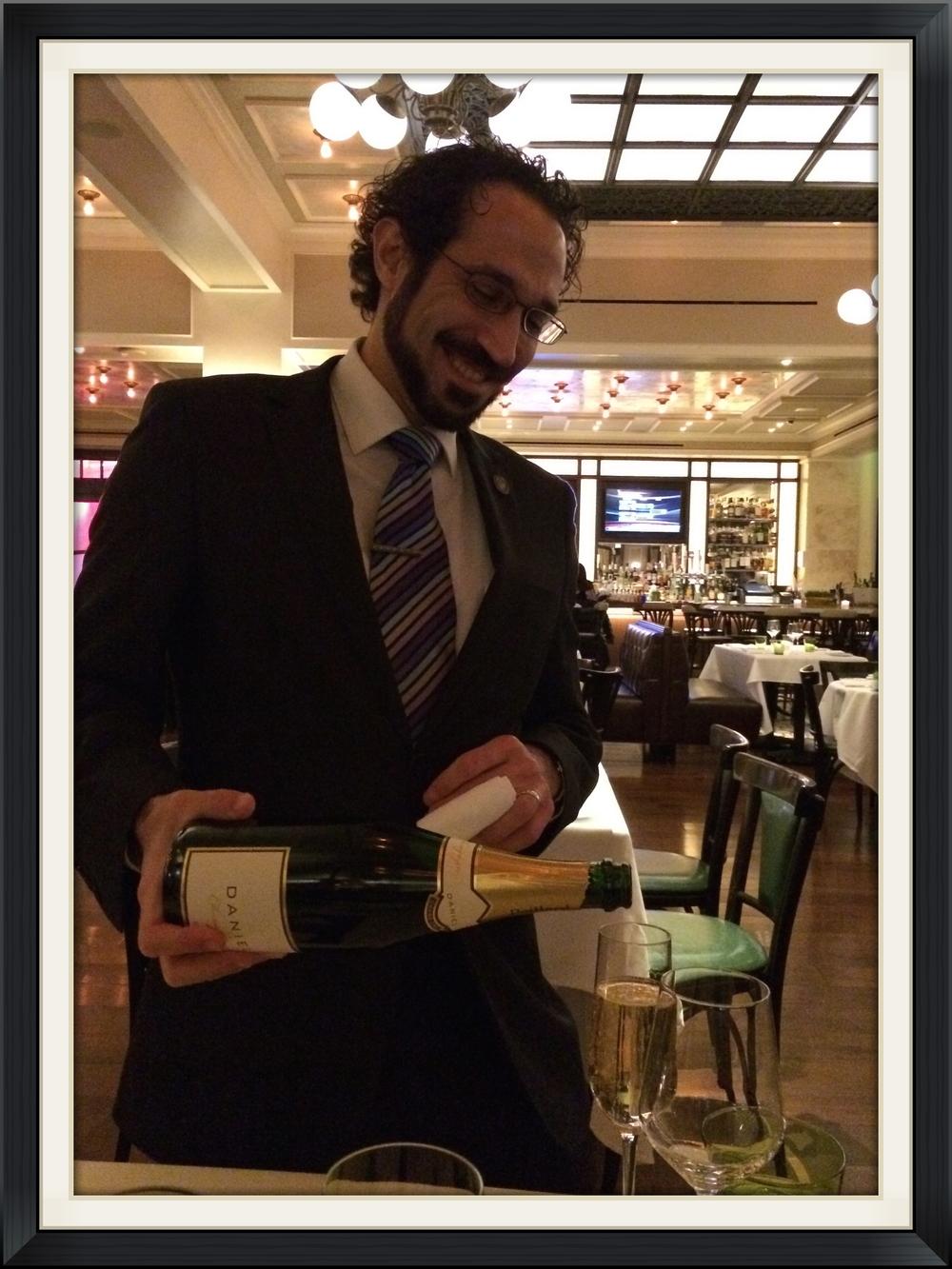 """Devin Zendel pours """"Daniel"""" Brut at db Brasserie"""
