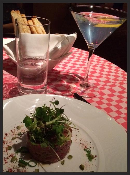 21 Club Steak Tartare and Gin