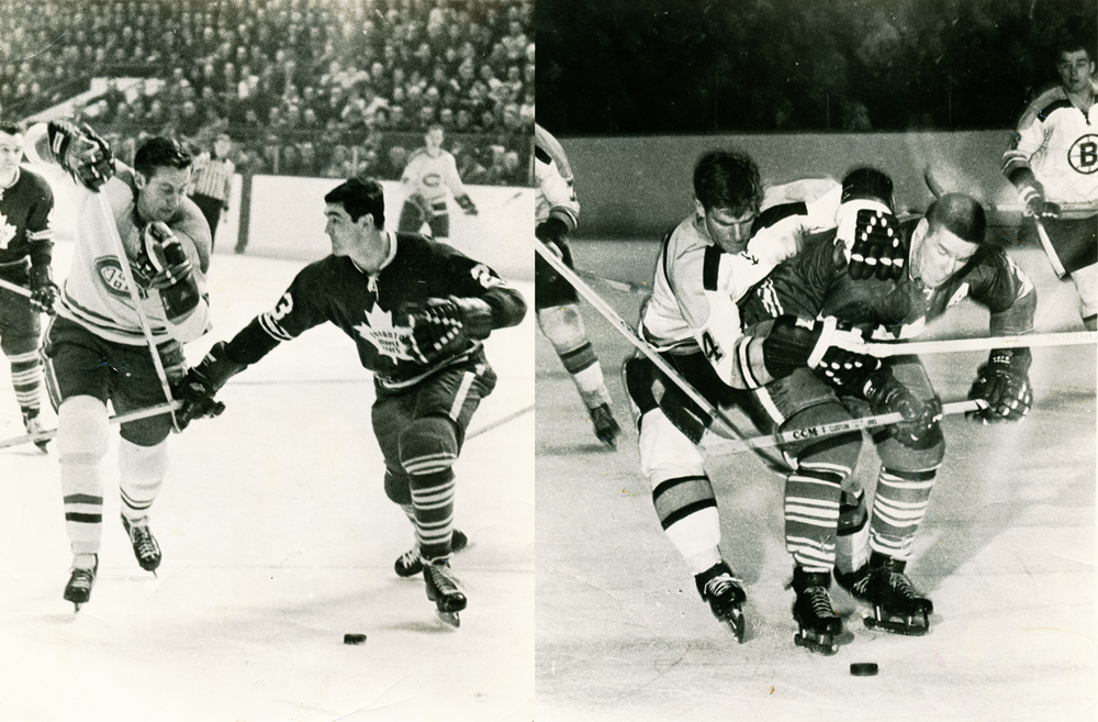 Early hockey heroes Jean Belevieau, Pat Quinn, Bobby Orr, and Tim Horton from my personal scrapbook.