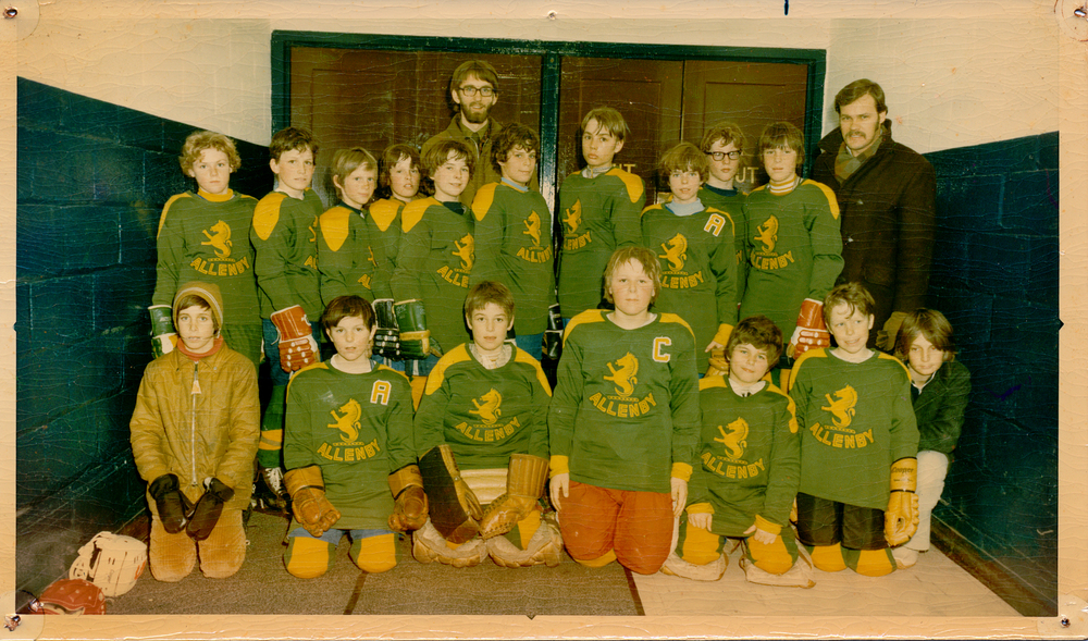 Age 10 after losing 7-0 at Maple Leaf Gardens (4th from the left back row)