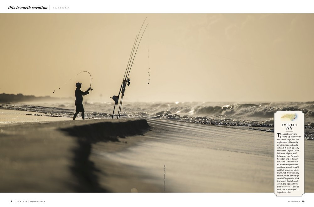 September Issue: Image of a fisherman, fishing on Emerald Isle.