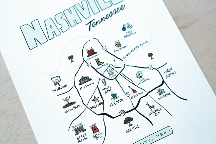 Nashville Neighborhoods Map Nashville Neighborhoods Map — High Fancy Paper Nashville Neighborhoods Map
