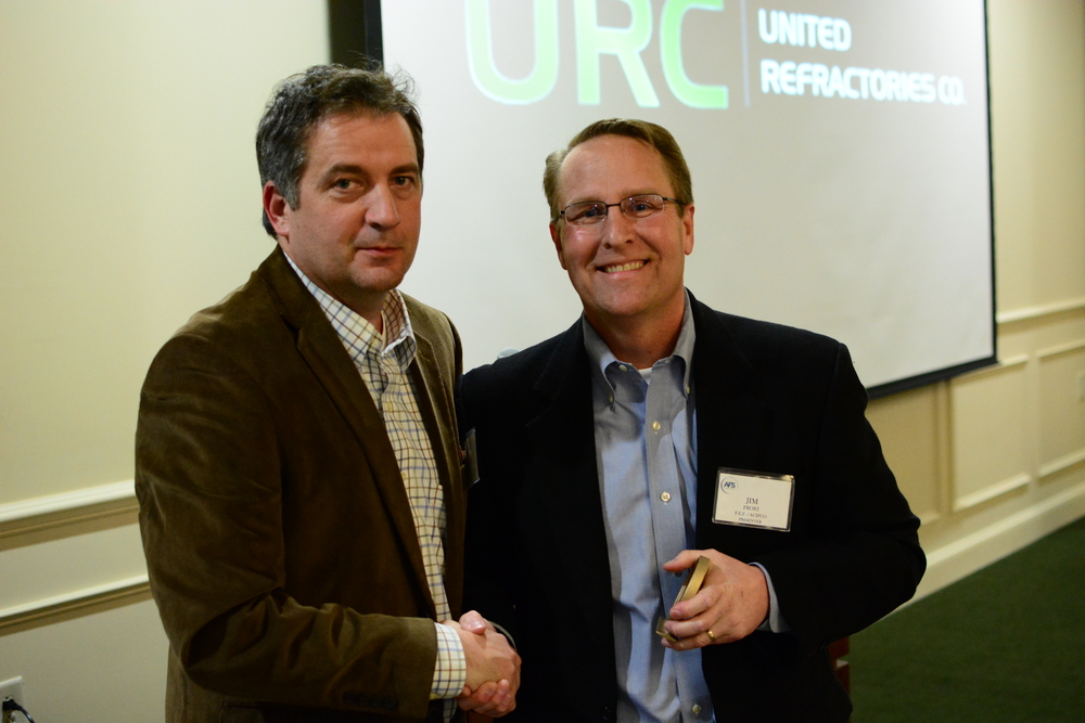 Chapter Chairman Donald McLain (L) presents Jim Frost (R) with a Speakers award