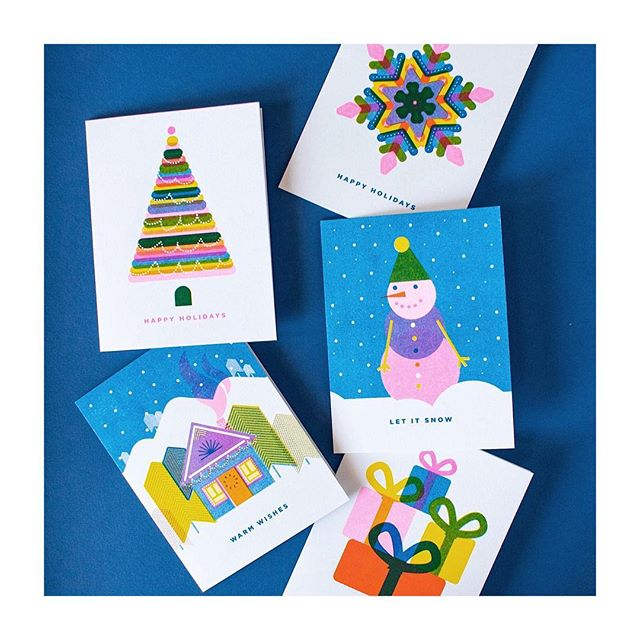 Card assortment for all the special ❄️in your life. . . . #snowflake #snow #riso #risoart #risograph #risoprint #illustrationoftheday #madeintoronto #madeincanada #videpress #slyeye #slyeyeca #slyeyecards #holidaycards #happyholidays #cheerfulcards #greetingcard #greetingcards #etsy #etsyshop
