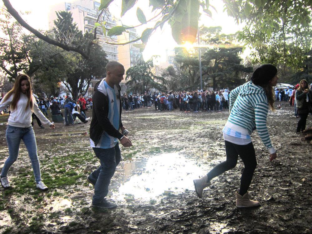 It was a muddy day in Parque Centenario