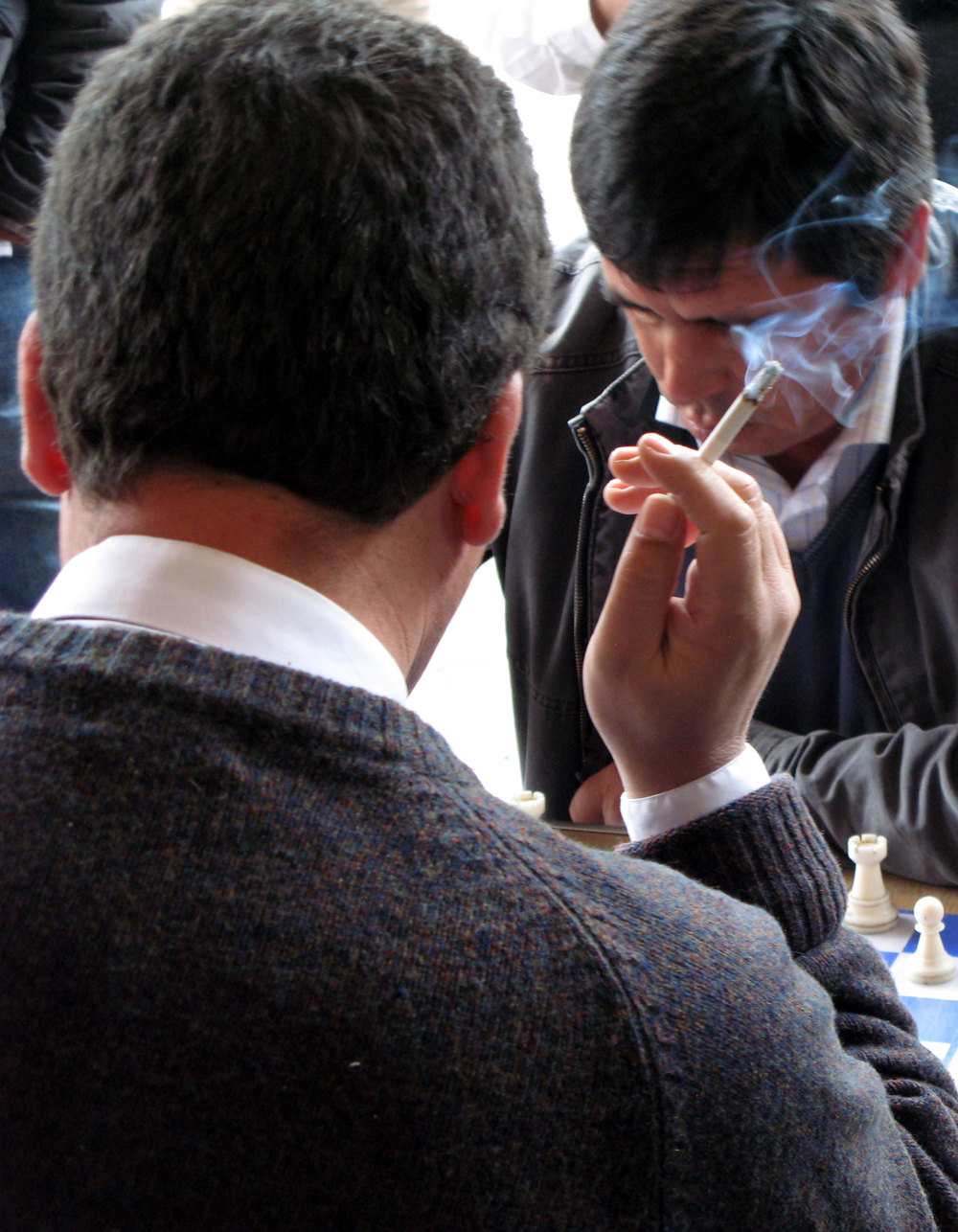 A player smokes to relieve the stress.