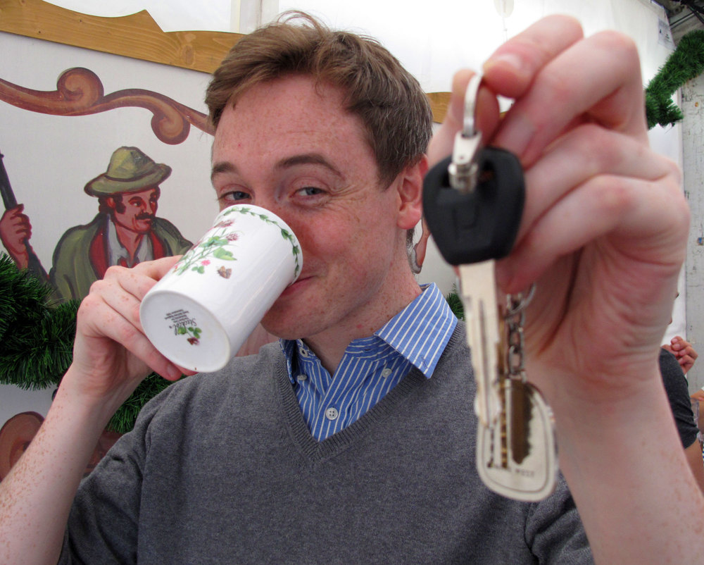 The Designated Driver with a cup of tea and his car keys at the ready.