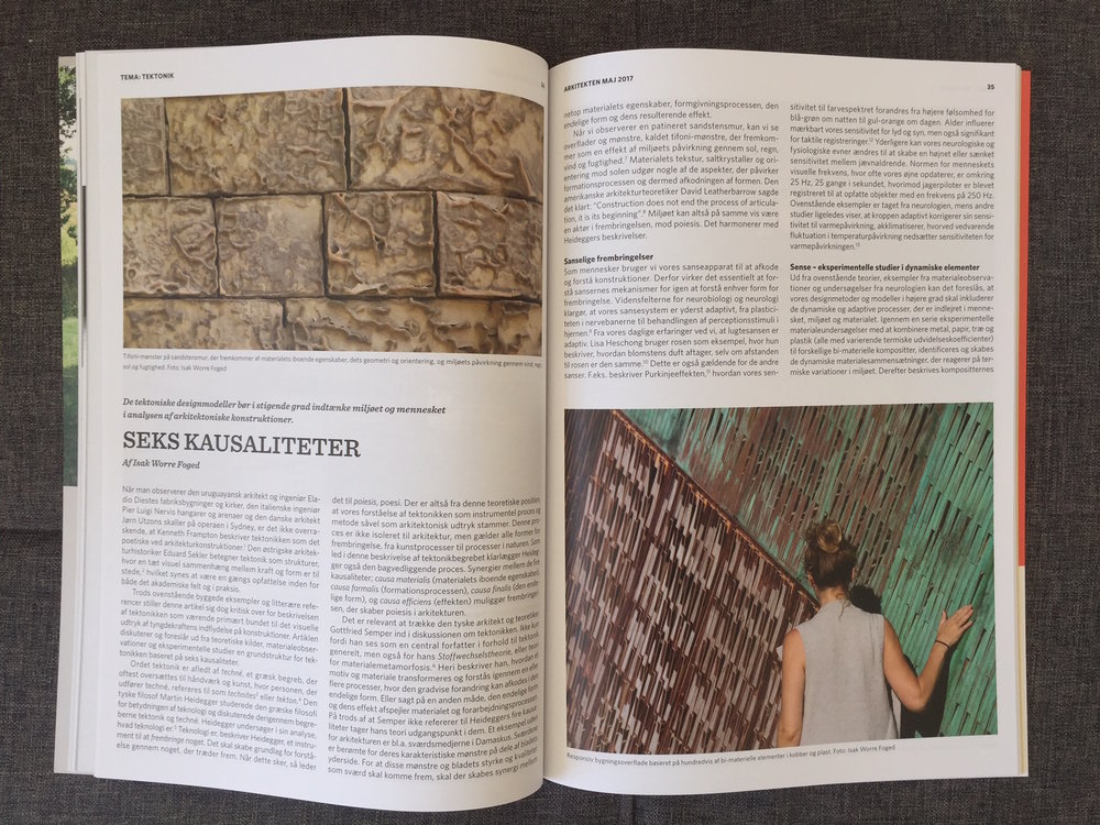 Article on 'Six Causalities' formulated by Isak on the definition of Environmental Tectonics, showing also the Sense III and IV projects in the Danish Journal 'Arkitekten'. The journal is distributed to all architects in Denmark and additional subscribers to the journal.