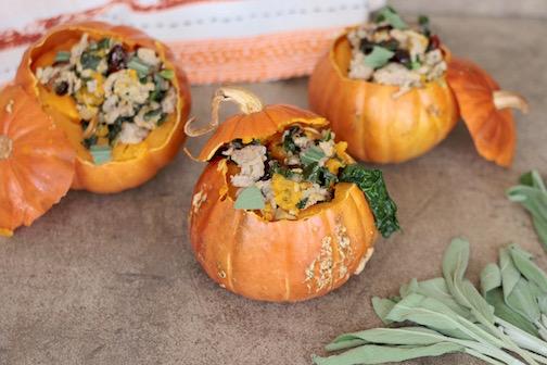 Sugar Pumpkins stuffed with Turkey Picadillo
