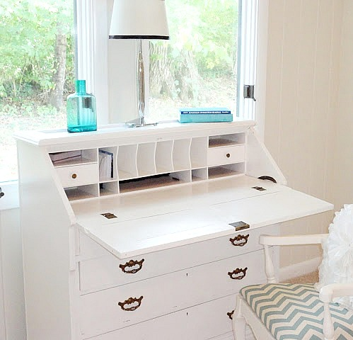 This Little Vanity Table Was One Of My First Furniture Makeovers As Well. I  Painted It And Stenciled A Gold Lattice Stencil On Top.