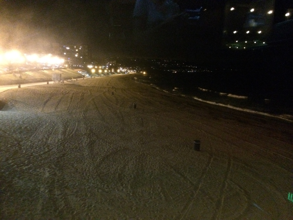 First night beach view