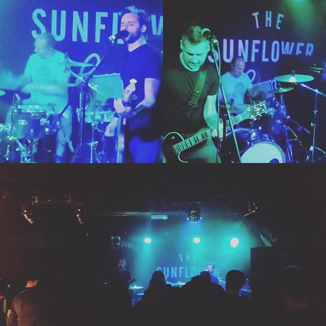 First show back done. Cheers @thesunflowerlounge that was bloody hot. New song went down well.....now we need to name some songs and the album.