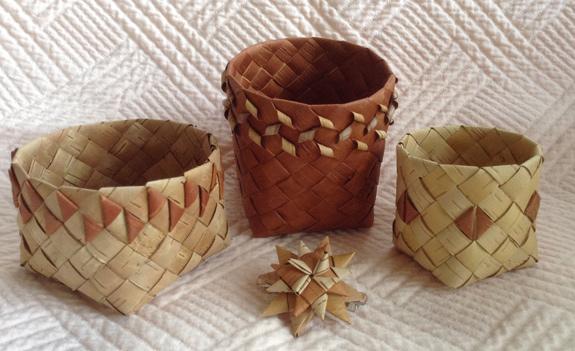 Double Walled Birch Bark Strip Basket