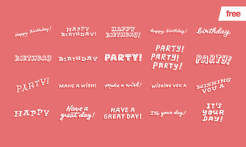 Birthday Party - 20 free vector glyphs